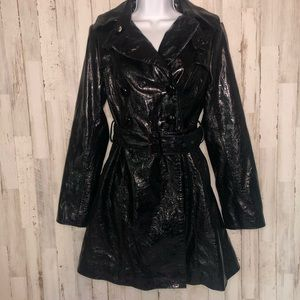 Arden B Faux Croc Leather Belted Trench Coat